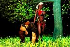 Hot young elf babe in red bikini and tough warrior