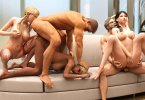 Three couples play in a swinger room
